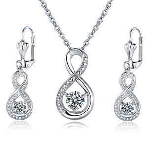 White topaz pendant necklace and drop earrings set